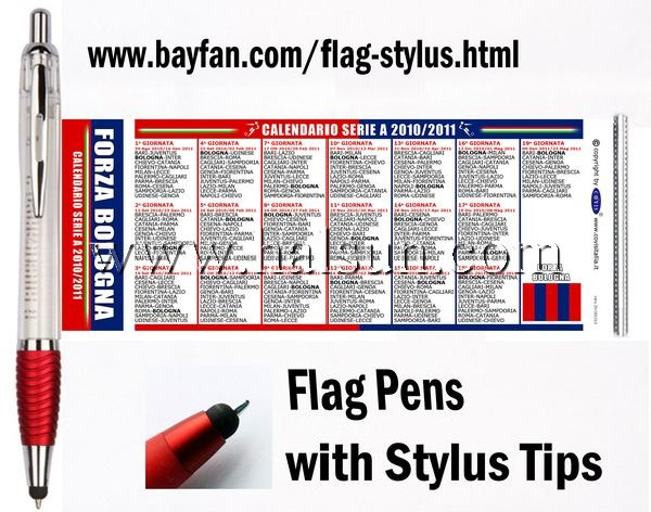 flag stylus, flag stylus pens, transparent barrel flag pen with capacitive stylus tips