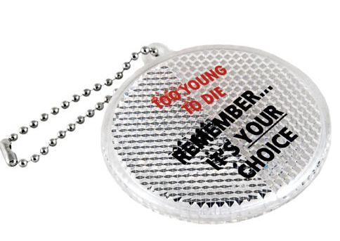promotional round reflective key chains